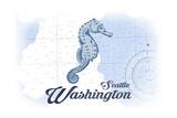 Seattle, Washington - Seahorse - Blue - Coastal Icon Prints by  Lantern Press