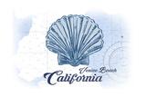Venice Beach, California - Scallop Shell - Blue - Coastal Icon Prints by  Lantern Press