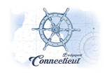 Bridgeport, Connecticut - Ship Wheel - Blue - Coastal Icon Prints by  Lantern Press