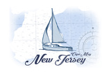 Cape May, New Jersey - Sailboat - Blue - Coastal Icon Posters by  Lantern Press