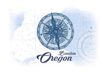 Bandon, Oregon - Compass - Blue - Coastal Icon Poster by  Lantern Press
