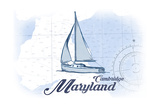 Cambridge, Maryland - Sailboat - Blue - Coastal Icon Prints by  Lantern Press