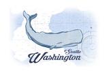 Seattle, Washington - Whale - Blue - Coastal Icon Prints by  Lantern Press