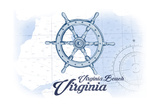 Virginia Beach, Virginia - Ship Wheel - Blue - Coastal Icon Prints by  Lantern Press