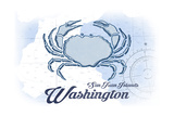 San Juan Islands, Washington - Crab - Blue - Coastal Icon Prints by  Lantern Press