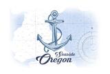 Seaside, Oregon - Anchor - Blue - Coastal Icon Posters by  Lantern Press
