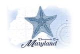 Chesapeake Bay, Maryland - Starfish - Blue - Coastal Icon Print by  Lantern Press
