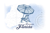 Pensacola, Florida - Beach Chair and Umbrella - Blue - Coastal Icon Prints by  Lantern Press