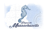 Plymouth, Massachusetts - Seahorse - Blue - Coastal Icon Posters by  Lantern Press