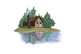 Cabin and Lake - Icon Prints by  Lantern Press