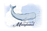 Chesapeake Bay, Maryland - Whale - Blue - Coastal Icon Prints by  Lantern Press