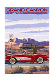 Grand Canyon Railway, Arizona - Route 66 - Corvette with Red Rocks Prints by  Lantern Press