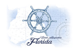 Saint Augustine, Florida - Ship Wheel - Blue - Coastal Icon Prints by  Lantern Press