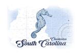 Charleston, South Carolina - Seahorse - Blue - Coastal Icon Art by  Lantern Press