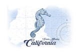 Santa Monica, California - Seahorse - Blue - Coastal Icon Posters by  Lantern Press