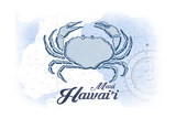 Maui, Hawaii - Crab - Blue - Coastal Icon Prints by  Lantern Press