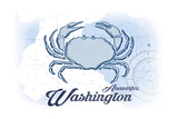 Anacortes, Washington - Crab - Blue - Coastal Icon Prints by  Lantern Press