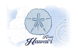 Kauai, Hawaii - Sand Dollar - Blue - Coastal Icon Prints by  Lantern Press