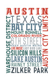 Austin, Texas - Typography Prints by  Lantern Press