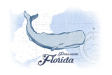 Pensacola, Florida - Whale - Blue - Coastal Icon Prints by  Lantern Press