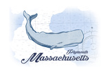 Plymouth, Massachusetts - Whale - Blue - Coastal Icon Art by  Lantern Press