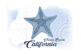 Venice Beach, California - Starfish - Blue - Coastal Icon Posters by  Lantern Press