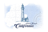Venice Beach, California - Lighthouse - Blue - Coastal Icon Poster by  Lantern Press