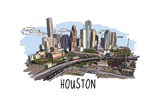 Houston, Texas - Cityscape - Line Drawing Prints by  Lantern Press