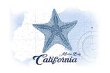 Morro Bay, California - Starfish - Blue - Coastal Icon Prints by  Lantern Press