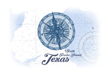 South Padre Island, Texas - Compass - Blue - Coastal Icon Prints by  Lantern Press