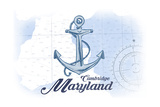 Cambridge, Maryland - Anchor - Blue - Coastal Icon Poster by  Lantern Press