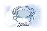Galveston, Texas - Crab - Blue - Coastal Icon Art by  Lantern Press