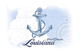 New Orleans, Louisiana - Anchor - Blue - Coastal Icon Print by  Lantern Press