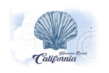 Hermosa Beach, California - Scallop Shell - Blue - Coastal Icon Sztuka autor Lantern Press
