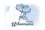 Seattle, Washington - Beach Chair and Umbrella - Blue - Coastal Icon Prints by  Lantern Press
