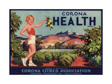 Corona Health Brand - Corona, California - Citrus Crate Label Prints by  Lantern Press
