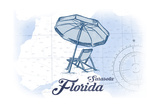 Sarasota, Florida - Beach Chair and Umbrella - Blue - Coastal Icon Art by  Lantern Press