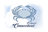 Bridgeport, Connecticut - Crab - Blue - Coastal Icon Prints by  Lantern Press