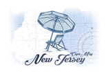 Cape May, New Jersey - Beach Chair and Umbrella - Blue - Coastal Icon Posters by  Lantern Press