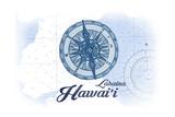 Lahaina, Hawaii - Compass - Blue - Coastal Icon Posters by  Lantern Press