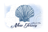 Atlantic City, New Jersey - Scallop Shell - Blue - Coastal Icon Posters af Lantern Press