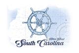 Hilton Head, South Carolina - Ship Wheel - Blue - Coastal Icon Poster by  Lantern Press