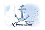 Bridgeport, Connecticut - Anchor - Blue - Coastal Icon Poster by  Lantern Press