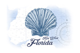 Key West, Florida - Scallop Shell - Blue - Coastal Icon Print by  Lantern Press