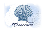 Bridgeport, Connecticut - Scallop Shell - Blue - Coastal Icon Art by  Lantern Press
