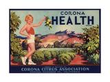 Corona Health Brand - Corona, California - Citrus Crate Label Print by  Lantern Press