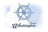 Tacoma, Washington - Ship Wheel - Blue - Coastal Icon Prints by  Lantern Press