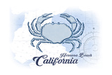 Hermosa Beach, California - Crab - Blue - Coastal Icon Prints by  Lantern Press