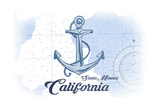 Santa Monica, California - Anchor - Blue - Coastal Icon Poster by  Lantern Press