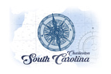 Charleston, South Carolina - Compass - Blue - Coastal Icon Prints by  Lantern Press
